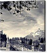 Framed View Of Salzburg From Kapuzinerberg Acrylic Print