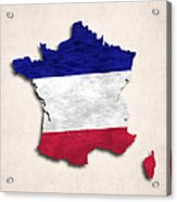 France Map Art With Flag Design Acrylic Print
