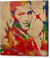 Frank Sinatra Watercolor Portrait On Worn Distressed Canvas Acrylic Print