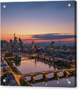 Frankfurt Skyline At Sunset Acrylic Print