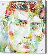 Franz Kafka Watercolor Portrait.2 Acrylic Print by Fabrizio Cassetta
