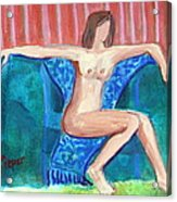 Dare To Be Bare In A Big Green Chair Acrylic Print