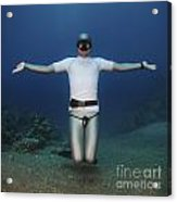 Freediver Underwater Acrylic Print by Hagai Nativ