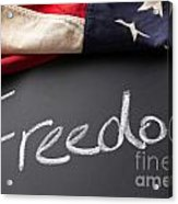 Freedom Sign On Chalkboard Acrylic Print