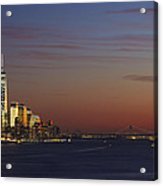 Freedom Tower And Lower Manhattan On The Hudson At Night Acrylic Print