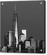Freedom Tower Glow Bw Acrylic Print