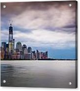 Freedom Tower Over The Hudson Acrylic Print