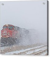 Train In Blizzard Snow Acrylic Print