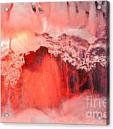 Freezing Waterfall Glowing In Red Light Acrylic Print