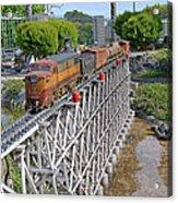 Freight Train Bridge Crossing Acrylic Print