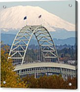 Fremont Bridge And Mount Saint Helens Acrylic Print