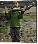 French Boy With Fish Acrylic Print