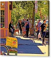 French Bread On Laurier Street Montreal Cafe Scene Sunny Corner With Vente De Garage Sign Acrylic Print