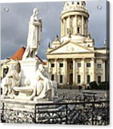 French Cathedral And Statue Gendarmenmarkt Germany Acrylic Print