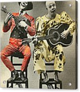 French Clown Musicians Vintage Art Reproduction Tint Acrylic Print