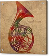French Horn Brass Instrument Watercolor Portrait On Worn Canvas Acrylic Print