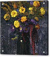 French Marigold Purple Daisies And Golden Sheaves Acrylic Print