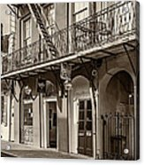 French Quarter Art And Artistry Sepia Acrylic Print