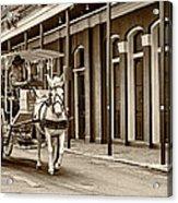 French Quarter Carriage Ride Sepia Acrylic Print
