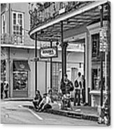 French Quarter - Hangin' Out Bw Acrylic Print by Steve Harrington