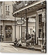 French Quarter - Hangin' Out Sepia Acrylic Print