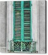 French Quarter Window In Green Acrylic Print
