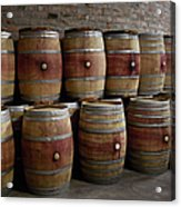 French Wine Barrels Stacked At Winery Acrylic Print