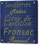 French Wines - 2 Champagne And Bordeaux Region Acrylic Print