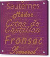 French Wines-3 - Champagne And Bordeaux Region Acrylic Print