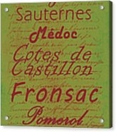 French Wines - 4 Champagne And Bordeaux Region Acrylic Print