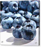 Fresh And Natural Blueberries Close Up On White Acrylic Print