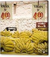 Fresh Bananas On A Street Fair In Brazil Acrylic Print by Ricardo Lisboa