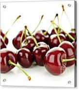 Fresh Cherries On White Acrylic Print by Elena Elisseeva