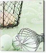 Fresh Farm Eggs And Whisk Acrylic Print