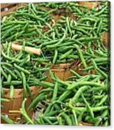 Fresh Green Beans In Baskets Acrylic Print by Teri Virbickis