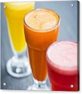 Fresh Orange Carrot And Watermelon Fruit Juice Acrylic Print