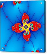 Fresh Orange Red And Blue Abstract Fractal Art Acrylic Print