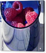 Fresh Raspberries In A Blue Cup Acrylic Print