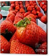 Fresh Strawberries Acrylic Print by Peggy Hughes