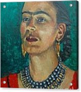Frida Teal Acrylic Print by Lilibeth Andre