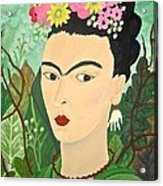 Frida With Flowers Acrylic Print