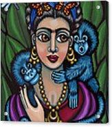 Frida's Monkeys Acrylic Print by Victoria De Almeida
