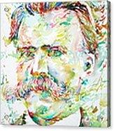Friedrich Nietzsche Watercolor Portrait Acrylic Print