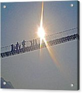 Friendly Nepali In The Sunlight On The Suspension Bridge Over The Seti River In Nepal  Acrylic Print