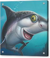 friendly Shark Cartoony cartoon under sea ocean underwater scene art print blue grey  Acrylic Print