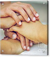 Friends Hands Acrylic Print by Carlos Caetano