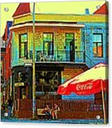 Friends On The Bench At Cartel Street Food Mexican Restaurant Rue Clark Art Of Montreal City Scene Acrylic Print