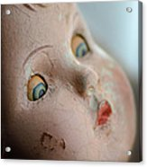 Frightened Vintage Doll Face Acrylic Print