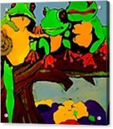 Frog Family Hanging Out On A Limb Acrylic Print