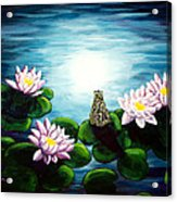 Frog In A Moonlit Pond Acrylic Print